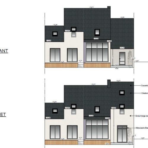 plan coupe exterieur maison surelevation