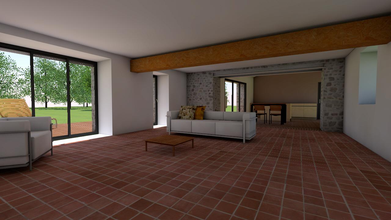 vue interieure de la longere en renovation