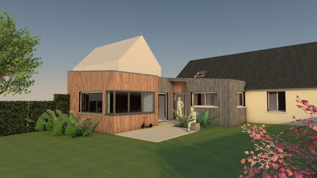 maison extension zinc bois