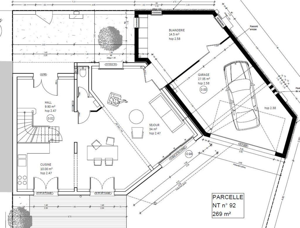 plan d'architecte maison projet extension