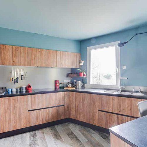 cuisine amenagee bleue