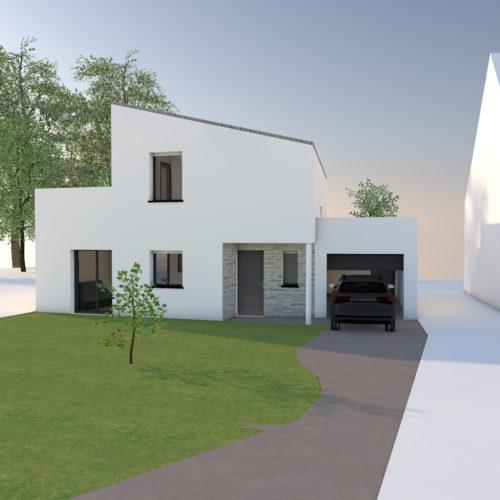 maison blanche moderne en construction design