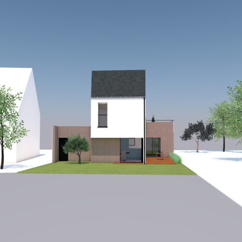 maison neuve vue face le lann architecture