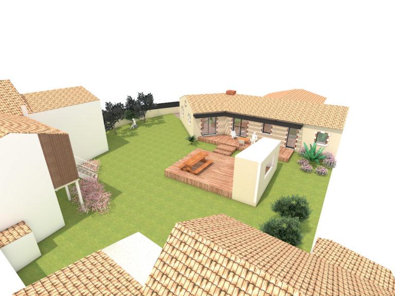 maison brique et tuiles en extension construction