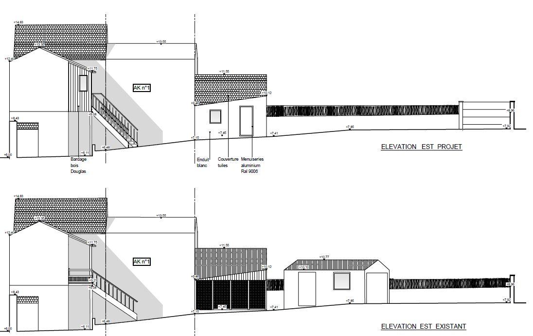 maison en construction et extension plan coupe